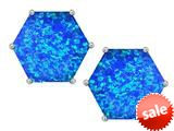 Original Star K™ Fancy Octagon Cut Earrings Studs with Created Blue Opal style: 309102