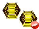 Original Star K™ Fancy Octagon Cut Earrings Studs with Simulated Citrine style: 309108