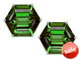 Original Star K™ Fancy Octagon Cut Earrings Studs with Simulated Emerald style: 309109