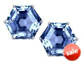 Original Star K™ Fancy Octagon Cut Earrings Studs with Simulated Aquamarine style: 309110