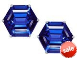 Original Star K™ Fancy Octagon Cut Earrings Studs with Simulated Sapphire style: 309112