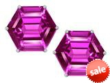 Original Star K™ Fancy Octagon Cut Earrings Studs with Created Pink Sapphire style: 309114