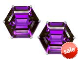 Original Star K™ Fancy Octagon Cut Earrings Studs with Simulated Amethyst style: 309116