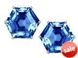 Original Star K™ Fancy Octagon Cut Earrings Studs with Simulated Blue Topaz style: 309117