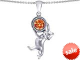 Original Star K™ Cat Lover Pendant with October Birthstone Simulated Orange Mexican Fire Opal style: 309121