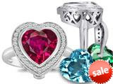 Switch-It Gems™ Heart Shape 10mm Simulated Ruby Ring with 12 Interchangeable Simulated Birthstones style: 309124