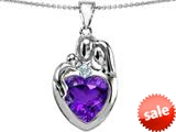 Original Star K™ Large Loving Mother Father With Child Family Pendant 12mm Heart Simulated Amethyst style: 309126