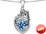 Original Star K™ Large Loving Mother Father With Child Family Pendant 12mm Heart Simulated Aquamarine style: 309127