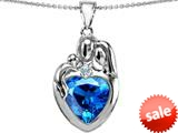 Original Star K™ Large Loving Mother Father With Child Family Pendant 12mm Heart Simulated Blue Topaz style: 309128