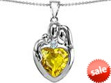 Original Star K™ Large Loving Mother Father With Child Family Pendant 12mm Heart Simulated Citrine style: 309129