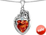 Original Star K™ Large Loving Mother Father With Child Family Pendant 12mm Heart Simulated Fire Opal style: 309130