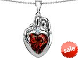 Original Star K™ Large Loving Mother Father With Child Family Pendant 12mm Heart Simulated Garnet style: 309131