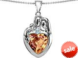 Original Star K™ Large Loving Mother Father With Child Family Pendant 12mm Heart Simulated Imperial Yellow Topaz style: 309132
