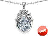Original Star K™ Loving Mother Twins Family Pendant With 8mm Heart Shape Genuine White Topaz style: 309138