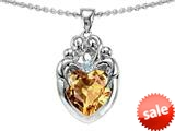 Original Star K™ Loving Mother Twins Family Pendant With 8mm Heart Shape Simulated Imperial Yellow Topaz style: 309139