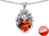 Original Star K™ Loving Mother Twins Family Pendant With 8mm Heart Shape Simulated Orange Mexican Fire Opal style: 309140