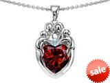 Original Star K™ Loving Mother Twins Family Pendant With 8mm Heart Shape Simulated Garnet style: 309141