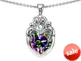 Original Star K™ Loving Mother Twins Family Pendant With 8mm Heart Shape Rainbow Mystic Topaz style: 309142