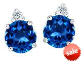 Original Star K™ Round 7mm Simulated Blue Topaz Earrings Studs style: 309144