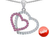 Original Star K™ Double Heart Love Pendant with Round Created Pink Sapphire style: 309151