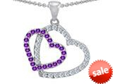 Original Star K™ Double Heart Love Pendant with Round Simulated Amethyst style: 309153