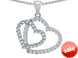 Original Star K™ Double Heart Love Pendant with Round Simulated Aquamarine style: 309154