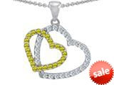 Original Star K™ Double Heart Love Pendant with Round Simulated Citrine style: 309156