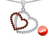 Original Star K™ Double Heart Love Pendant with Round Simulated Garnet style: 309158