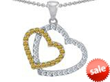 Original Star K™ Double Heart Love Pendant with Round Simulated Imperial Yellow Topaz style: 309159