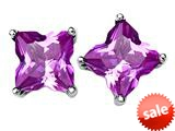 Original Star K™ Fancy Cut Star Shape Earrings Studs with Created Pink Sapphire style: 309160