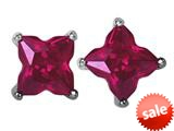 Original Star K™ Fancy Cut Star Shape Earrings Studs with Created Ruby style: 309161