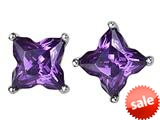 Original Star K™ Fancy Cut Star Shape Earrings Studs with Simulated Amethyst style: 309162