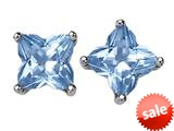 Original Star K™ Fancy Cut Star Shape Earrings Studs with Simulated Aquamarine style: 309163