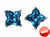 Original Star K™ Fancy Cut Star Shape Earrings Studs with Simulated Blue Topaz style: 309164