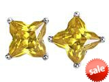 Original Star K™ Fancy Cut Star Shape Earrings Studs with Simulated Citrine style: 309165