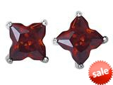 Original Star K™ Fancy Cut Star Shape Earrings Studs with Simulated Garnet style: 309169