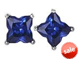 Original Star K™ Fancy Cut Star Shape Earrings Studs with Simulated Sapphire style: 309170