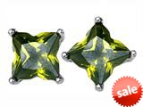 Original Star K™ Fancy Cut Star Shape Earrings Studs with Simulated Peridot style: 309171
