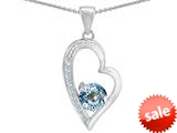 Original Star K™ Round Simulated Aquamarine Heart Pendant style: 309173