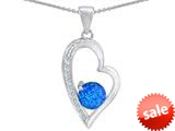 Original Star K™ Round Blue Simulated Opal Heart Pendant style: 309174