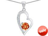 Original Star K™ Round Simulated Orange Mexican Fire Opal Heart Pendant style: 309178