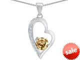 Original Star K™ Round Simulated Imperial Yellow Topaz Heart Pendant style: 309179