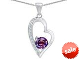 Original Star K™ Round Simulated Amethyst Heart Pendant style: 309183