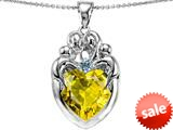 Original Star K™ Large Loving Mother Twins Family Pendant With 12mm Heart Simulated Citrine style: 309184