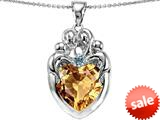 Original Star K™ Large Loving Mother Twins Family Pendant With 12mm Heart Simulated Imperial Yellow Topaz style: 309185