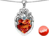 Original Star K™ Large Loving Mother Twins Family Pendant With 12mm Heart Simulated Orange Mexican Fire Opal style: 309186