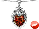 Original Star K™ Large Loving Mother Twins Family Pendant With 12mm Heart Simulated Garnet style: 309187