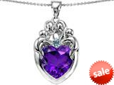 Original Star K™ Large Loving Mother Twins Family Pendant With 12mm Heart Simulated Amethyst style: 309188