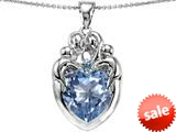 Original Star K™ Large Loving Mother Twins Family Pendant With 12mm Heart Simulated Aquamarine style: 309189