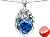 Original Star K™ Large Loving Mother Twins Family Pendant With 12mm Heart Simulated Blue Topaz style: 309190